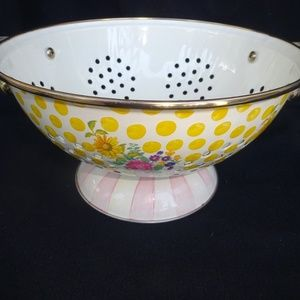 Mackenzie Childs Bathing Hut Buttercup Colander